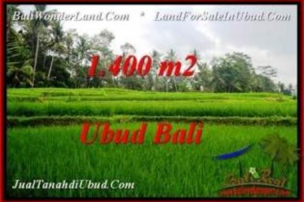 TANAH di UBUD JUAL MURAH 1,400 m2  View Sawah dan kebun