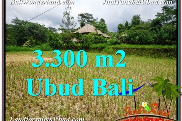 TANAH di UBUD JUAL 3,300 m2  View kebun dan sawah