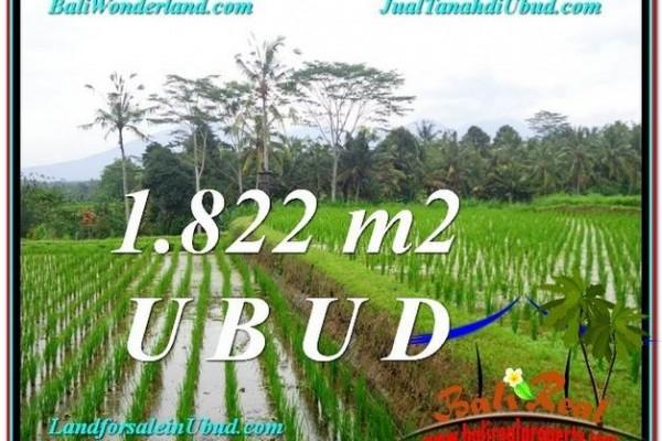 JUAL TANAH di UBUD BALI 1,822 m2  View Sawah Gunung dan Sungai kecil