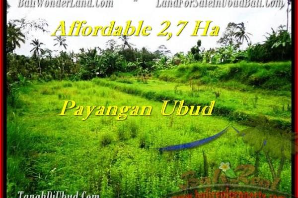 TANAH MURAH di UBUD 27,000 m2  View Kebun dan tebing, sungai