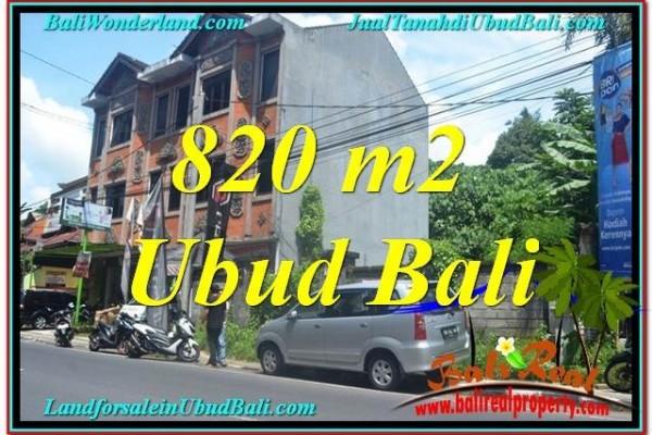 TANAH di UBUD DIJUAL MURAH 820 m2 Pinggir jalan Raya Ubud