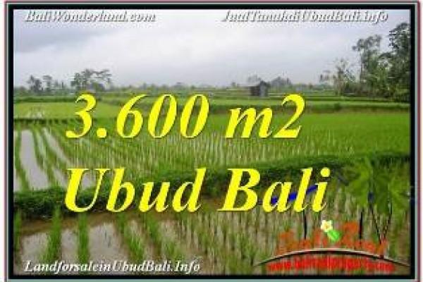 JUAL MURAH TANAH di UBUD BALI 3,600 m2  VIEW SAWAH DAN VILLA