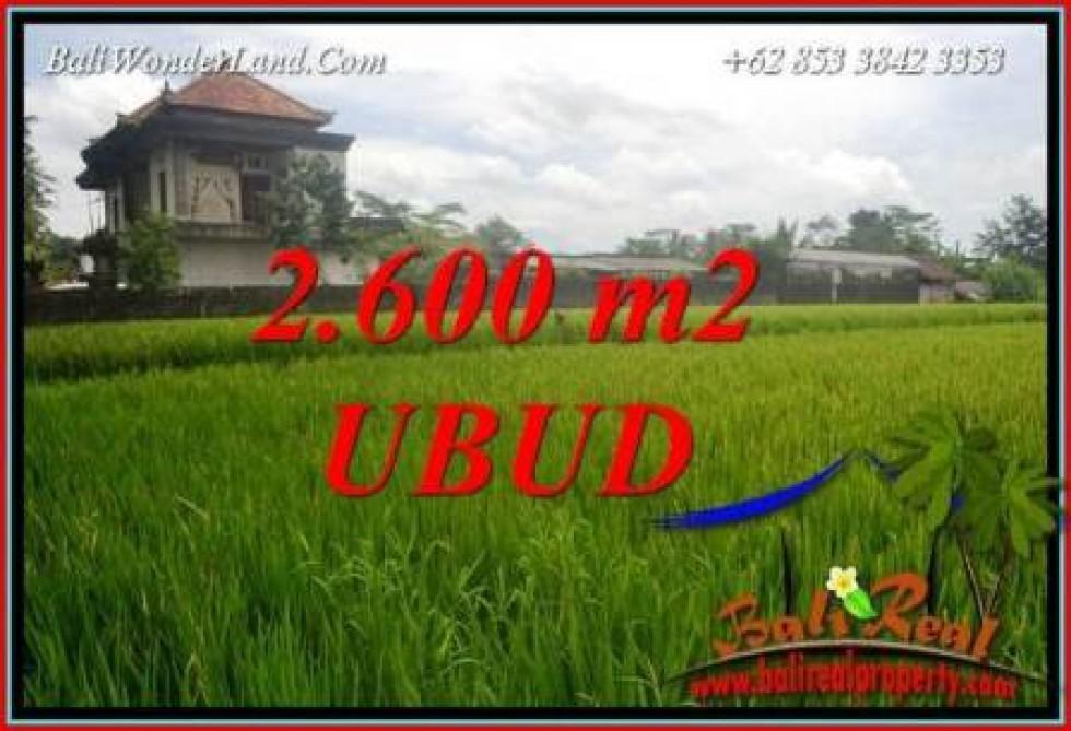 JUAL Tanah di Ubud Bali 2,600 m2 View sawah lingk. villa
