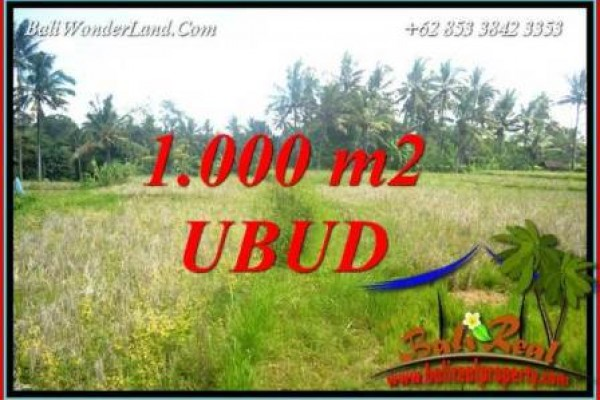 Tanah Murah jual di Ubud Bali 1,000 m2 View Sawah Lingkungan Villa