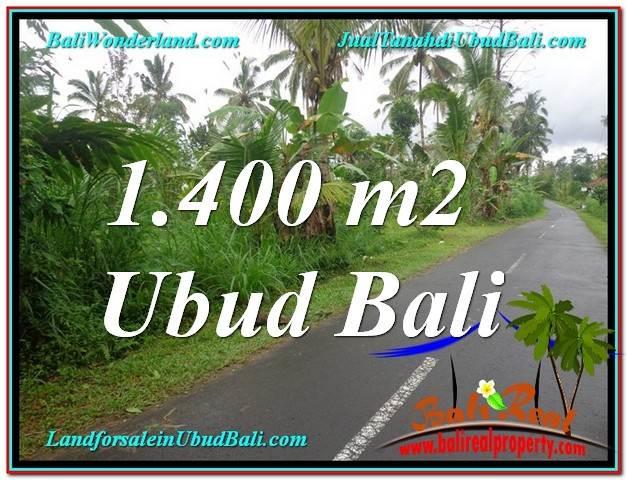 TANAH di UBUD JUAL 1,400 m2  View Tebing lingkungan Villa