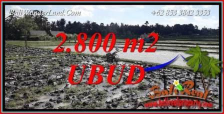 JUAL Tanah Murah di Ubud Bali 2,800 m2 di Sentral Ubud